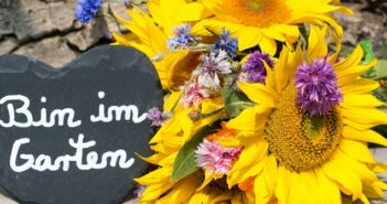 Deko fuer den Garten: Farbenfrohes Hinweisschild