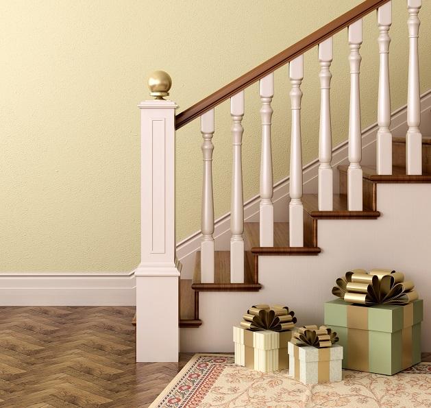 Besonders hübsch und auch richtig günstig in der Anschaffung sind Geschenkkartons, die neben der Treppe platziert werden können (#02)