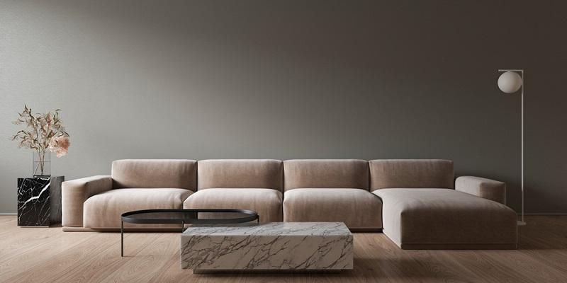 Zum cleanen Look passt das Material des Tisches prima zum Sofa ( Foto: Shutterstock-Zum cleanen Look passt das Material prima zum Sofa ( Foto: Shutterstock-_YKvisual )